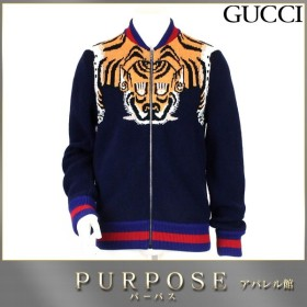 グッチ GUCCI ニット ブルゾン ウール 長袖 ZIP タイガー 虎 柄 ネイビー サイズ XS メンズ GG