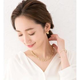 ネックレス - CREAM-DOT ネックレス チェーンネックレス ごつめ 太め 大ぶり メタル マーキスモチーフ ゴールド シルバー アーモンドチェーン 鎖アジャスター レディース シンプル メンズライク 上品 アクセサリー プレゼント 女性
