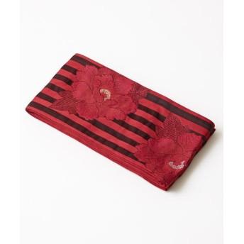 ふりふ 半巾帯「縞に牡丹」 レディース エンジ F 【FURIFU】