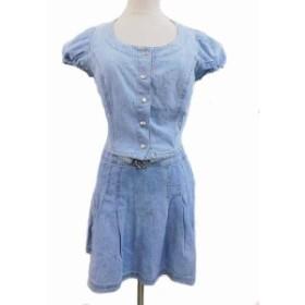 【中古】マックス&コー MAX&CO. セットアップ ジャケット デニム Uネック 半袖 40 スカート フレア ミニ丈 38 水色 ブルー