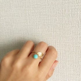 leaf & turquoise ring