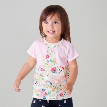 ミキハウス フェイクプリント半袖Tシャツ ピンク