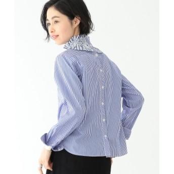 BEAMS BOY / フリル カラー ロングスリーブ レディース カジュアルシャツ BLUE ST ONE SIZE