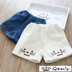 f36c1f26b722f 子供服 短パン 女の子 白 デニム風 ショートパンツ 刺繍 韓国子供服 夏 キッズ 猫