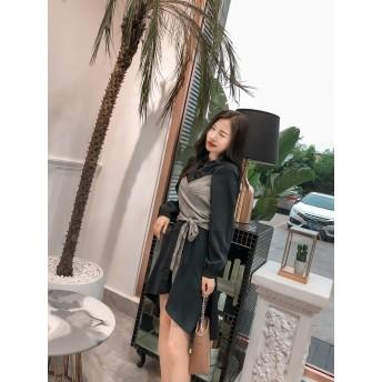 [55555SHOP]韓国ファッション ワンピース レース 結婚式 パーティードレス フィット シースルー ミニドレス レディース 長袖