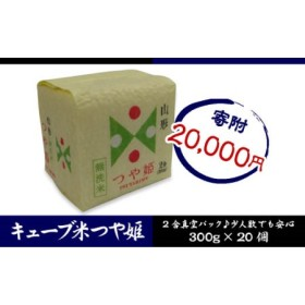 山形産 無洗米キューブ米つや姫300g×20個