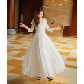 ウェディング パーティー マーメイド  Aライン ドレス 花嫁 結婚式 花 レース ドレス 高級 エンパイア ウェディングドレス ワンピース
