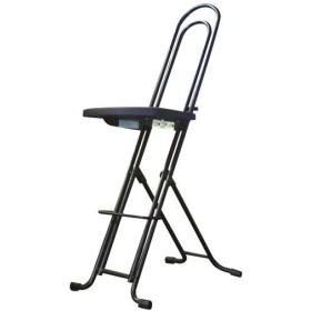 シンプル 折りたたみ椅子 〔ブラック×ブラック 幅335mm〕 日本製 スチールパイプ LP-850 『ジャンボベストワークチェア』〔代引不可〕【配達日時指定不可】