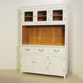 アンティーク調 マホガニー カップボードキャビネット 食器棚 W1250 ホワイト
