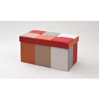 リビング収納スツール ダブル レッド/オレンジ ライフスタイル 家具 チェア・スツール au WALLET Market