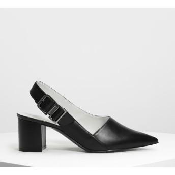 ポインテッドトゥ スリングバッグ / Pointed Toe Slingbacks (Black)