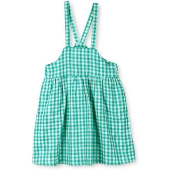 【50%OFF】 ブランシェス ギンガムチェックジャンパースカート(90~150cm) レディース グリーン 100cm 【branshes】 【セール開催中】