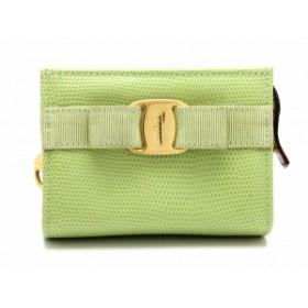 【バッグ】 サルヴァトーレ フェラガモ ポーチ リザード型押しレザー ライトグリーン 緑 ゴールド金具 223057