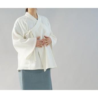 【wafu】厚地 起毛 リネン 作務衣 和装 禅 羽織 ベルスリーブ カーディガン 男女兼用 / 白 h037a-wht3