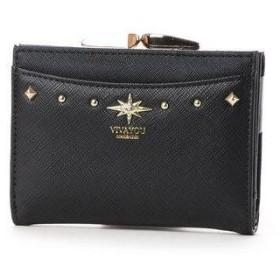 ビバユー VIVAYOU スタッズポイントがま口2つ折り財布。 (ブラック)