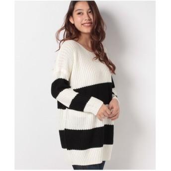 STYLEBLOCK ドルマンスリーブボーダーニットチュニックセーター(ホワイト×ブラック)【返品不可商品】