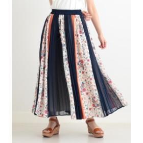 CAROLINA GLASER / オリジナル柄 配色プリーツスカート レディース その他スカート ネイビー ONE SIZE