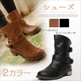 レディース靴 シューズ レースアップシューズ ローヒール ブーツ ブーティ ハイカット 紐 カジュアル ファッション 韓国風 ミドルブーツ バックル しっかり 歩きやすい 流行 個性