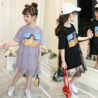 韓国子ども服 女の子 ジュニア 半袖ワンピース 子供服 ワンピース カジュアル110/120/130/140/150/160cm 着心地良い ファッション感