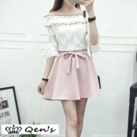 セットアップ セット オフショル 韓国ファッション きれいめ スカート お出かけ 七分丈 流行 キュート 可愛い 韓国スタイル オシャレ