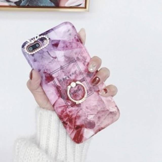 3a6952ab98 スマホケース おしゃれ iPhone7 iPhone8 ケース アイフォン7 アイフォン8 ピンク 大理石デザイン バンカーリング付き zbga197