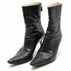【靴】 グッチ ショートブーツ ブーツ ジップブーツ ピンヒール レザー 黒 ブラック  サイズ35 1/2 115159
