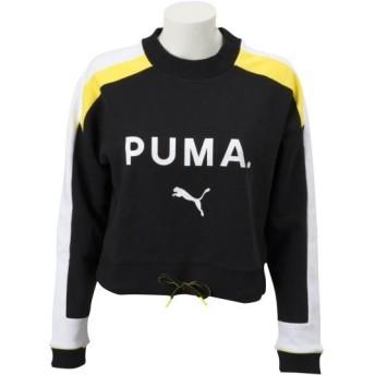 レディース 【PUMA ウェア】 プーマ ウェア W CHASE クルー 579115 01コットンブラック