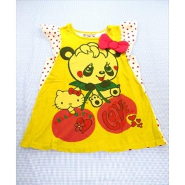 3caeef2d47c2f グラグラ GRAND GROUND Tシャツ キティコラボ 140cm 黄色/白系 ドット パンダ トップス ジュニア 女の子