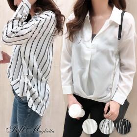シャツ - Felt Maglietta デコルテが綺麗に見えるフロントとバックのタックがポイント♪後ろ下がりスキッパーシャツ/シャツ/アシメ丈/トレンド/韓国ファッション/ストライプブラウス トップス[ZR]