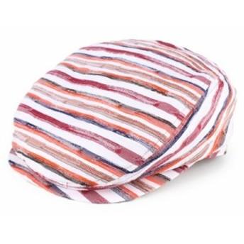 ロングハンチング イタリー製生地 帽子 メンズ ナイロン ボーダー柄 日本製 折りたたみ可 赤 レッド