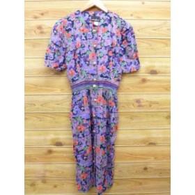 古着 半袖 ワンピース 90年代 花 レーヨン USA製 紫