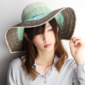 スカラ 女優帽 crochet かぎ編 ハット レディース ワイドブリム グラデーション 春夏 日よけ リゾート ブルー