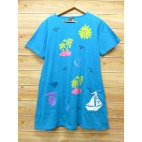 古着 ビンテージ Tシャツ ワンピース 90年代 太陽 ヤシの木 ハンドペイント USA製 水色【spe】