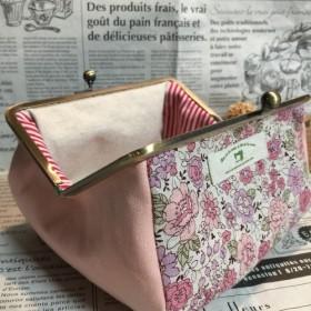 【受注製作】母の日 先行販売 yuwa ピンク花柄がま口メイクポーチ