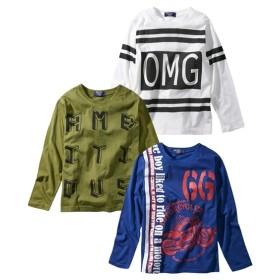 綿混プリント長袖Tシャツ3枚組(男の子 子供服。ジュニア服) Tシャツ・カットソー