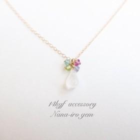 14kgf rainbowmoonstone × 4stones necklace