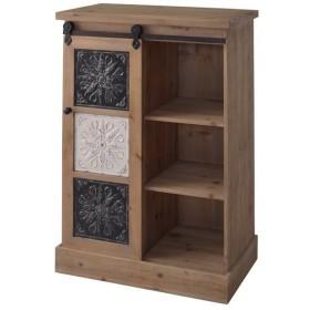 本棚 ブックシェルフ 3段 天然木 スライド扉 幅64cm ( 完成品 天然木 シェルフ 収納棚 収納 )