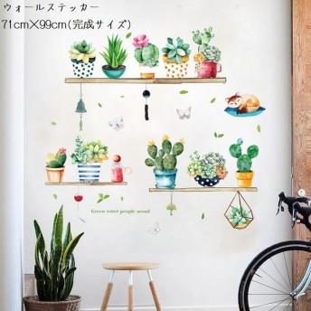 ウォールステッカー 多肉植物モチーフ 貼ってはがせる ウォールシール DIY 植物 サボテン 多肉植物 蝶 英字 ネコ イラスト パステル 壁紙 壁面