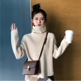 韓国ファッション/♪天使の肌触り 洗える ニット /ロング丈タートルネックニットソー ハイネックニットセーター