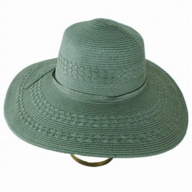 UPF50+ 帽子 キャペリン レディース ハット UVカット 小物 春夏 つば広 フォレスト グリーン