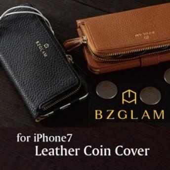 iPhone7対応 ケース BZGLAM レザーコインカバー お財布一体型 コインケース付きiPhoneケース サンクレスト iP7-BZ