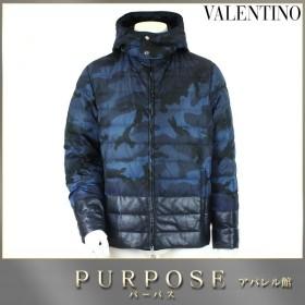 バレンチノ VALENTINO ダウンジャケット アウター 中綿 カモフラージュ 柄 ブルー ブラック サイズ 48 メンズ