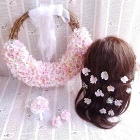 桜のハーフリースブーケ&ブートニア&ヘッドドレス*3点セット*プリザーブド&アーティフィシャルフラワー