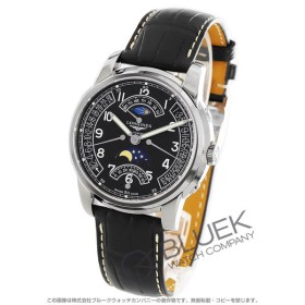 06109b7e0a ロンジン サンティミエ レトログラード ムーンフェイズ アリゲーターレザー 腕時計 メンズ LONGINES L2.764.4.53.3