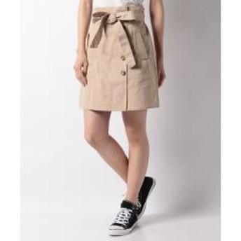 リボンベルト付きサイドボタン台形スカート