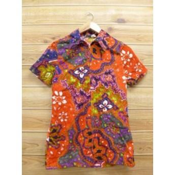 古着 半袖 チュニック 70年代 花 オレンジ系
