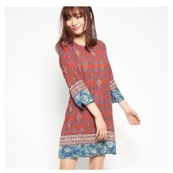 デシグアル Desigual ドレス3/4袖 (Pink/Red)