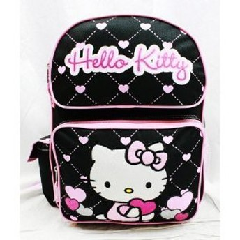 Medium Backpack - Hello Kitty (ハローキティ) - Glitter Heart Black Sch(未使用の新古品)