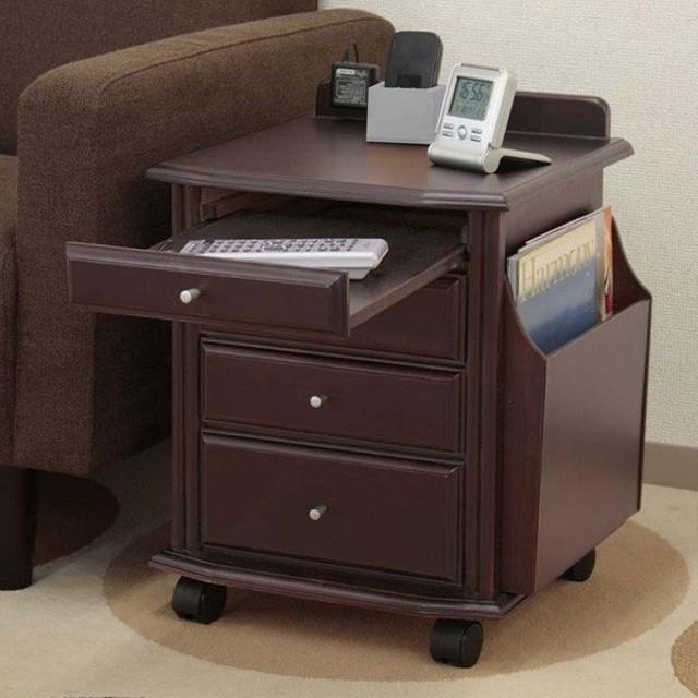 デスク ワゴン デスクワゴン キャスター付き 桐製 引き出し付き 和室 サイドテーブル 天然木ベッドサイドテーブル コンセント付き マガジンラック 代引不可