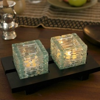 バリ雑貨 グラス型 2灯キャンドルホルダー (ダブル) バリのアジアン ガラス細工 アロマ バリ タイ ベトナム キャンドル立て キャ